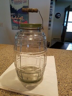 Antique Vintage Large Country Store Glass Pickle Barrel Jar w/ Handle Green Lid