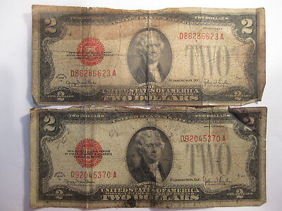 2 series 1928-G two dollar bills red seal AS SHOWN *3787