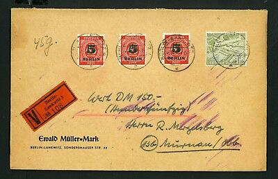 Scarce Germany BERLIN 1950,  MIX FRANKATUR  VF used COVER  see 2 scan