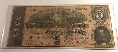 1864 $5 T-69 Csa Confederate Currency Richmond