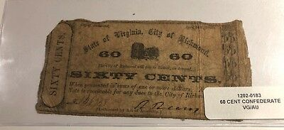 1862 60C Virginia Sixty Cents Confederate American Bank Note Richmond Vg/au