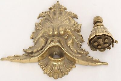 Old Antique Rare Japanese Brass Shower Head Dragon Face Threaded Flower Head