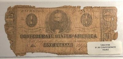 1863 $1 T-62 Csa Confederate Currency Richmond Vg/au
