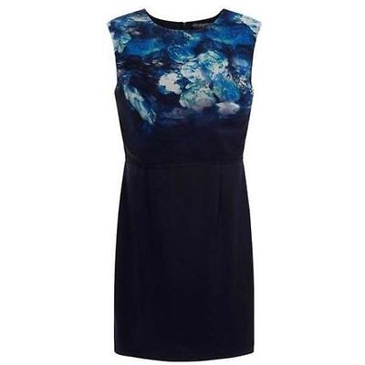 Little Mistress Two Tier Navy & Floral Printed Shift Dress  UK Size 10