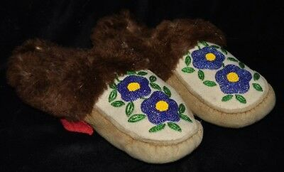 Late Historic Native American Moccasins Real Leather/Fur Authentic Artifact