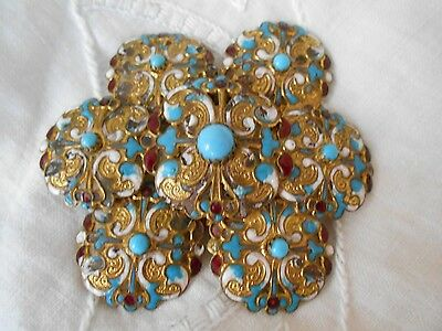True Antique Victorian Rare Cloisonne Gold Plated Large Belt Buckle One Exists