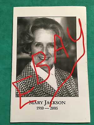 Mary Jackson 2005 The Waltons Emily Baldwin Memorial Celebration Funeral Program