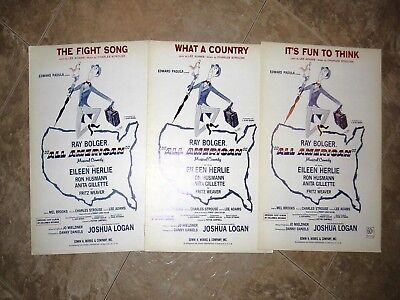 """3 Pieces Of 1962 Sheet Music From Musical Comedy """"all American"""""""