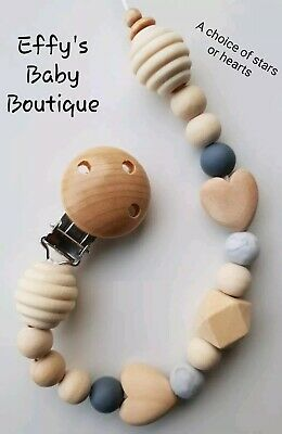 TEETHING🖤Silicone💛Wooden Dummy Clip🖤BPA FREE💛Grey🖤Heart💛Fully chewable