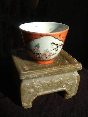 Antique Chinese Porcelain Cup ~Red Coral Ground Hand Painted ~OLD MARK