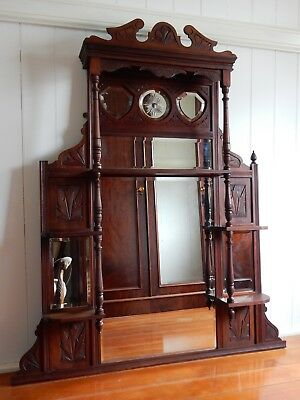 Huge Antique Edwardian Walnut Overmantle Over Mantle Mirror Fireplace Fire Place