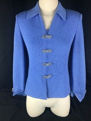 ST JOHN Collection by Marie Gray Sky Blue Set Knit Skirt & Top Suit Long Sleeve