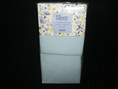 Pack of 2 Blue Tesco Sleep Cotton Jersey Fitted Moses Basket Sheets, unused