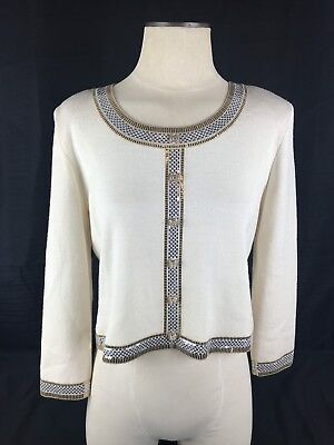 ST JOHN Collection by Marie Gray Ivory Set Knit Skirt/ Jacket and Pants
