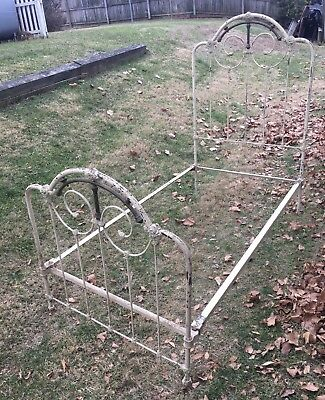 French Ornate Antique Iron & Brass Twin Bed Frame & Side Rails 1800's White