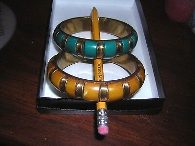 Two Vintage Gold Tone Bangle Bracelets With Acrylic Designs.