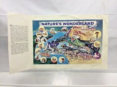 RARE Vintage Walt Disney Disneyland 1960 Nature's Wonderland Map Circlerama