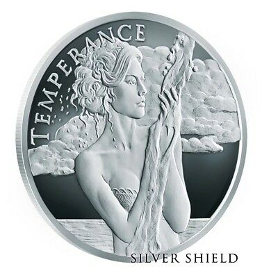 """2018 1Oz Temperance Proof 4 Cardinal Virtues Series - Silver Shield - """"in-Hand"""""""