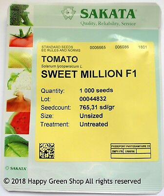 Sweet Million F1 - Vegetable Tomato Cherry - 1000 Certified Seeds