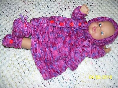 Vintage Baby Doll,  Dressed.  5- Piece Hand Knitted Set. Soft Yarn!. New!.