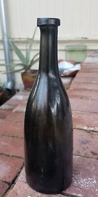 Lovely Antique Wine Champagne Bottle Black Glass Unusual and Crude Mouth