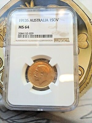 1913S Full Sovereign gold coin NGC MS64  High Grade