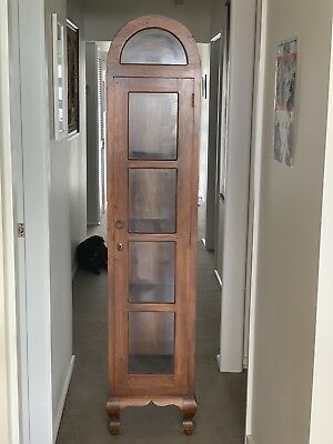 Vintage Style Timber Wooden Display Cabinet Bookcase Glass With Key