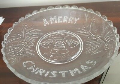 Vintage Australian Pressed Clear Glass Merry Christmas Bowl
