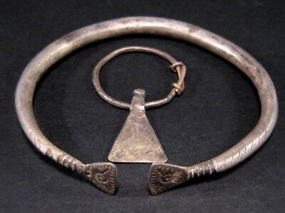 Set Of Celtic Solid Silver Bracelet And Axe Shaped Pendant Earring, As Found+++