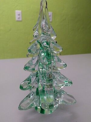 "Art Glass 6"" Christmas Tree with Green Accents"