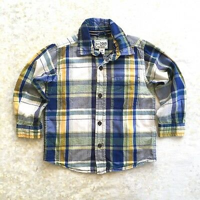 Children's Place Plaid Shirt Long Sleeve Cotton Boys Blue Green Yellow White 3T