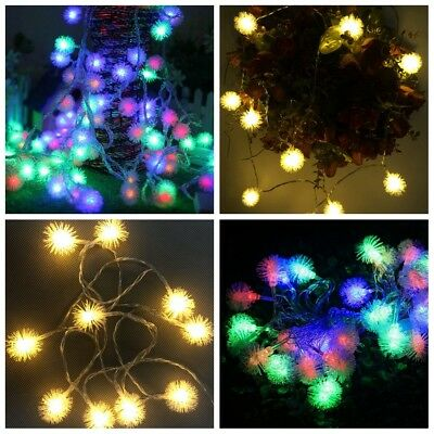Lighting Christmas Decoration LED String Fairy Lights Snow Pompon Copper Wire