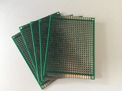 5 X Dual side printed experimental matrix PCB circuit board 6x8cm
