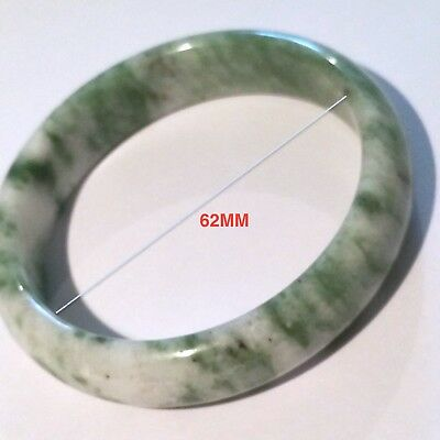 Beautiful 100% Natural Untreated Icy-Green Jade Jadeite Bangle Bracelet, 62Mm