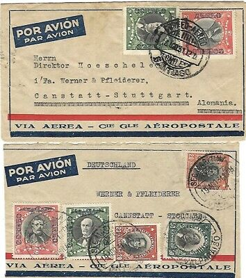 2 Chile multifranking airmail cover 1931 to Germany
