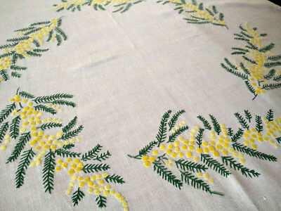Lovely Australian Yellow Wattle Circle  ~ Vintage Hand Embroidered Tablecloth
