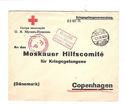 Poland 1916 Wwi Cover Posen Camp To Denmark Tear At Top (S172)