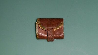 Antique French German Fashion Doll MINIATURE LEATHER WALLET w/Divided Interior