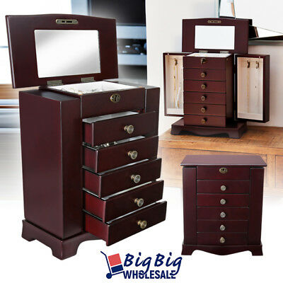 Wooden Jewelry Treasure Amoire Cabinet Storage Box Organizer Drawer W/ Mirror