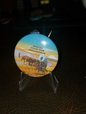 INDIANA State Fair Vintage Souvenir Button Pinback Pin Stage Coach Pioneers 50s