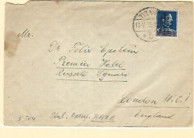 1939 Albania Italy Occupation overprinted stamp cover to London