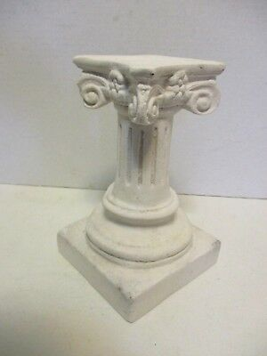 Vintage Plaster Paris Greek Fluted Pillar Corinthian Column Plant Pedestal 7.25""