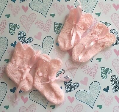 Hand Knitted Baby Girls Mittens And Booties