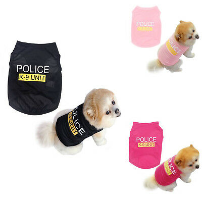 Small Dog Vest Cat Police Puppy T-Shirt Coat Pet Clothes Summer Apparel Costumes