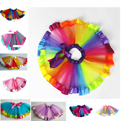 Tutu Skirt For Girls New Rainbow Mesh Colorful Children Fluffy Dance Half-length