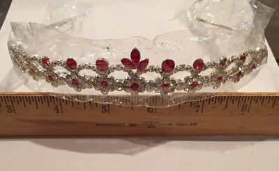 Luxury Bridal Princess Red Rhinestone Crystal Hair Tiara Wedding Crown Headband