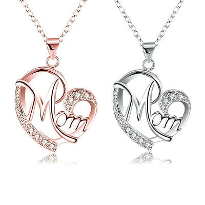 US Crystal Heart Mom Pendant Necklace Mothers Day Birthday Gift for Mom Mother