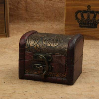 Vintage Treasure Wooden Box Chest Holder Mini Metal Lock Jewelry Wood Case