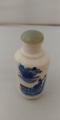 Antique Chinese Blue and White Crackle Glaze  Porcelain Snuff Bottle