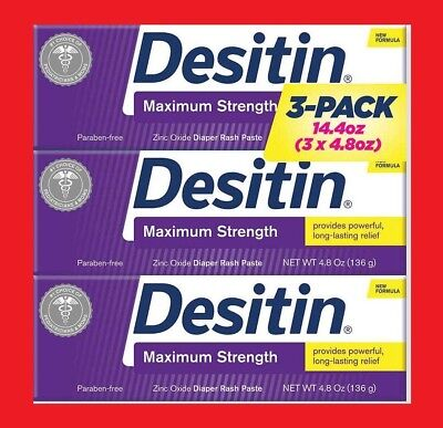 Desitin Maximum Strength 14.4 Ounces Total, 3 Tubes x 4.8 Ounces Each